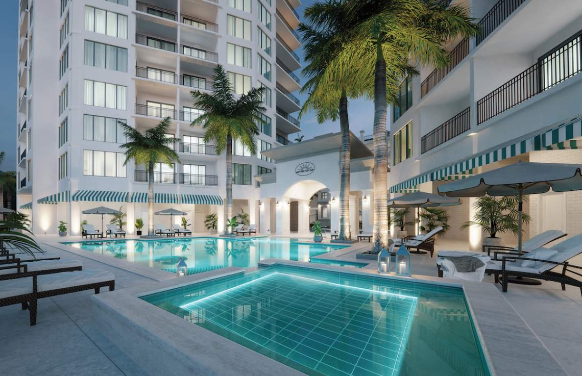 Luxurious heated three-tiered pool